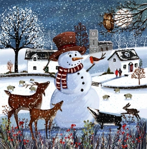 Snowman in the Field Christmas cards