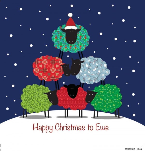 Sheep Pyramid Christmas Cards